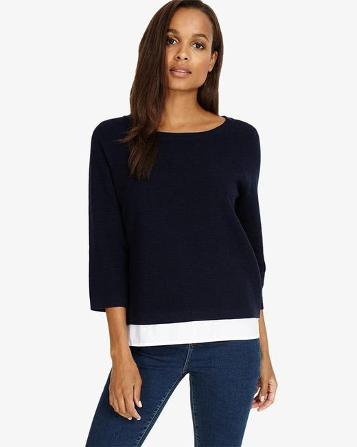 Phase Eight - Blue Rufina Ripple Stitch Knitted Jumper - Lyst