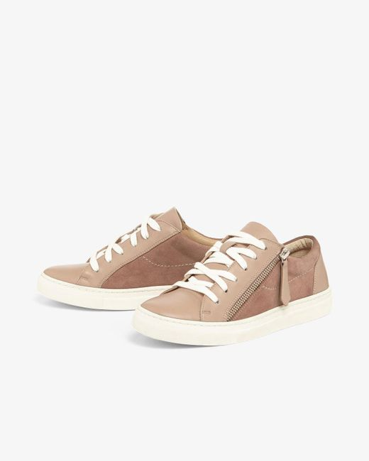 6a3d3634f6 ... Phase Eight - Pink Skyla Leather Side Zip Trainers - Lyst ...