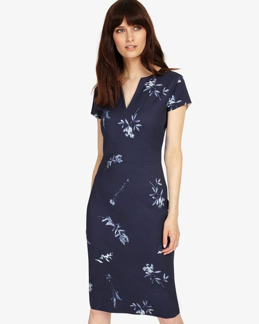 Phase Eight - Blue Megan Leaf Print Dress - Lyst