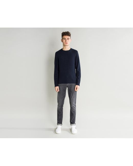 BOSS - Blue 'naranjo' Textured Panelled Knit Navy for Men - Lyst