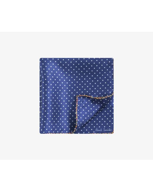 Paul Smith - Blue Polka Dot Silk Pocket Square Navy for Men - Lyst