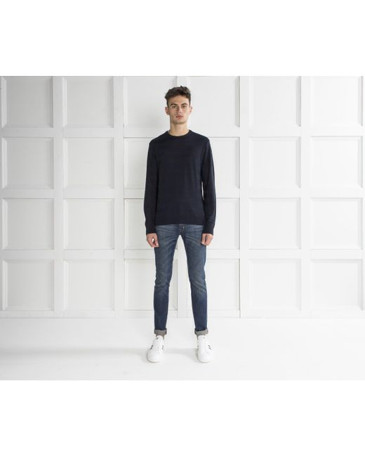 Armani Jeans - Blue Ribbed Stripe Crew Neck Knit Navy for Men - Lyst