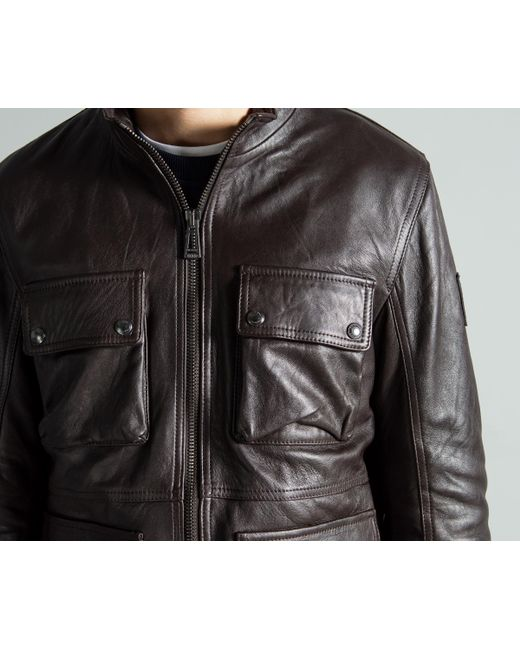 a0c37562370d Lyst - Belstaff  new Brad  Leather Jacket Brown in Brown for Men