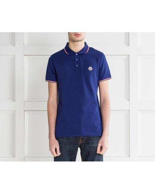 ... Moncler - 3-button Polo With Striped Trim Royal Blue for Men - Lyst ...