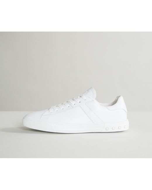 Plain Lace Up Leather Trainers White Tod's yD5Aw