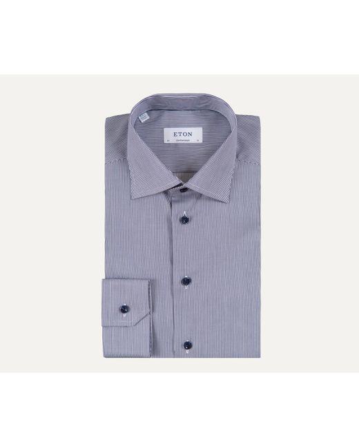Eton of Sweden - Blue Contemporary Fit Fine Pin-striped Shirt Navy for Men - Lyst