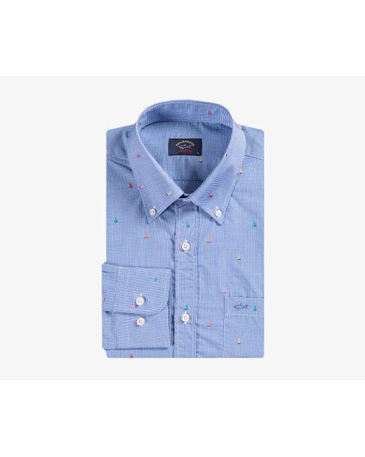 Paul & Shark - Micro Gingham Boat Shirt Blue for Men - Lyst