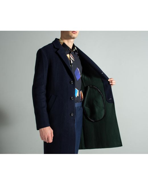 4ae25d6762d ... Paul Smith - Blue Double Faced Wool-blend Overcoat Navy for Men - Lyst