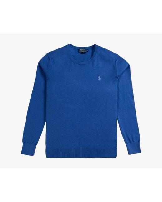 Ralph Lauren - Slim Fit Cashmere Cotton Blend Crew Neck Knit Blue Legacy for Men - Lyst