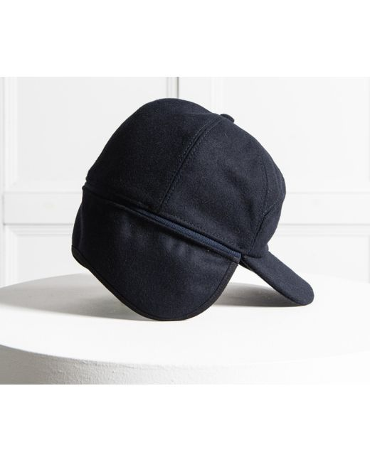 ... Lyst Paul   Shark - Blue Flannel Cap With Neck Flap Navy for Men ... bad8fdee413b