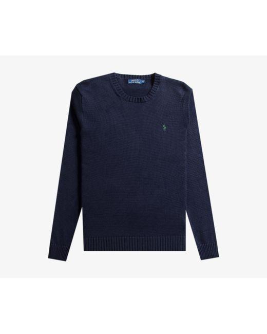 Polo Ralph Lauren - Blue Knitted Crew Neck Jumper Hunter Navy for Men - Lyst