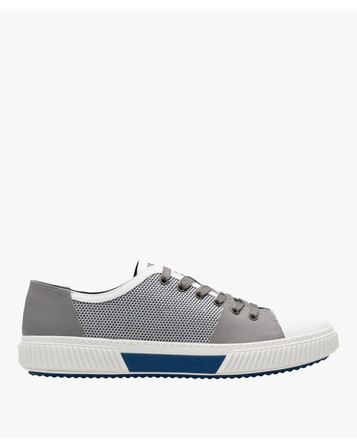 Prada - Gray Technical Mesh And Leather Sneakers - Lyst
