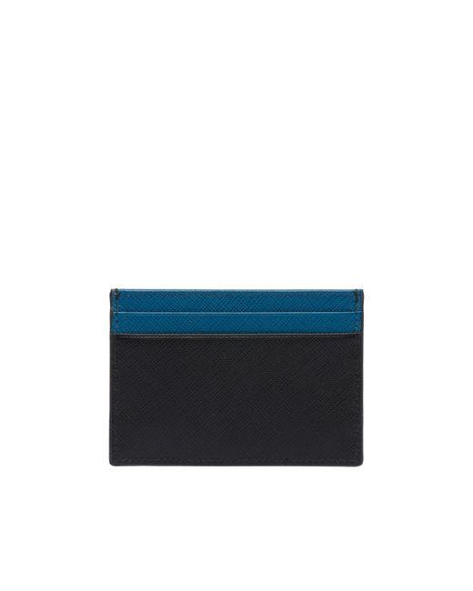 8f873bafe722 ... Prada - Blue Saffiano Leather Card Holder for Men - Lyst