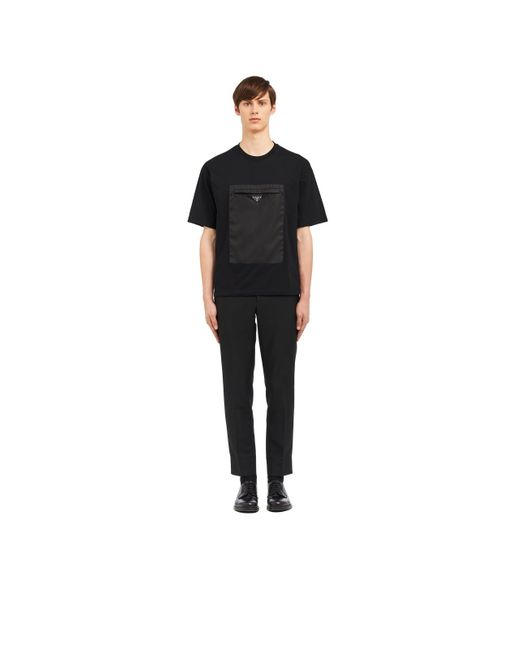 Men's Black Logo T Shirt by Prada