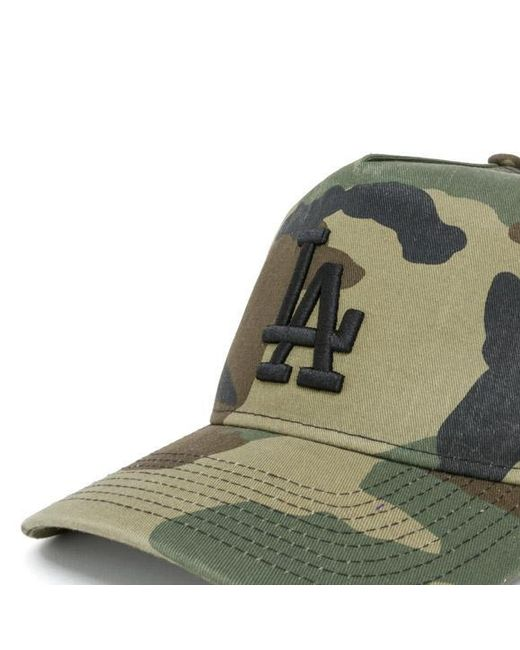 fa96cb5e3c2 ... KTZ - Green Los Angeles Dodgers Washed Camo A Frame 9forty Cap for Men  - Lyst