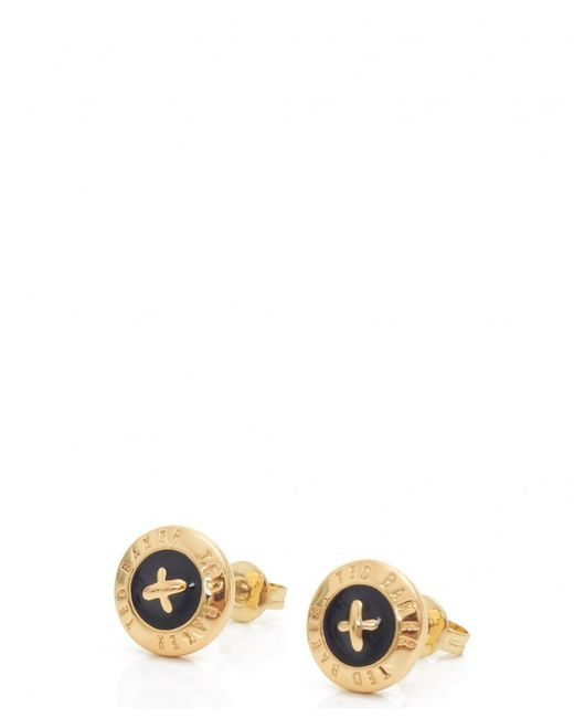 Ted Baker | Black Eisley Enamel Mini Button Earrings | Lyst