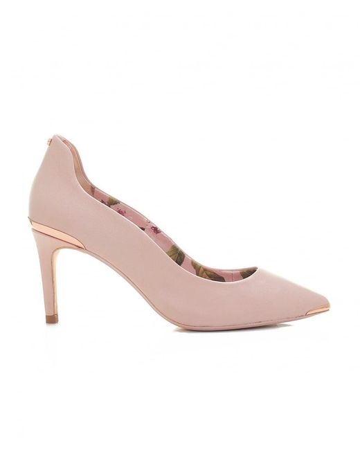 bc6b6c5a7 Ted Baker - Pink Leather Mid Heel Court Shoes - Lyst ...