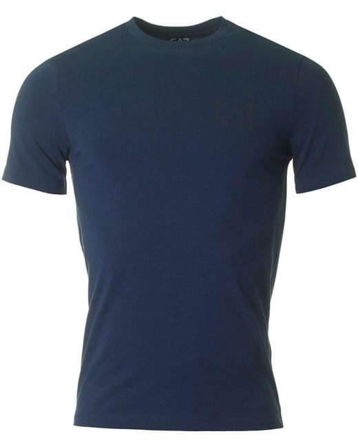 EA7 - Blue Train Logo Back Crew Neck for Men - Lyst