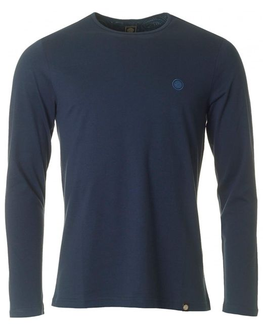 Pretty Green - Blue Mitchell Long Sleeved Crew Neck for Men - Lyst