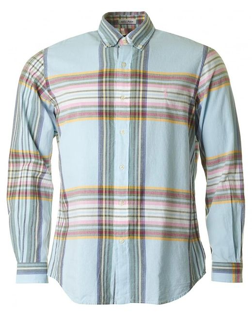 Polo Ralph Lauren - Blue Brushed Cotton Checked Shirt for Men - Lyst