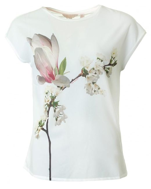 Ted Baker - White Harmony Print Jersey Top - Lyst