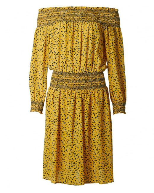 Michael Kors - Yellow Printed Off Shoulder Dress - Lyst