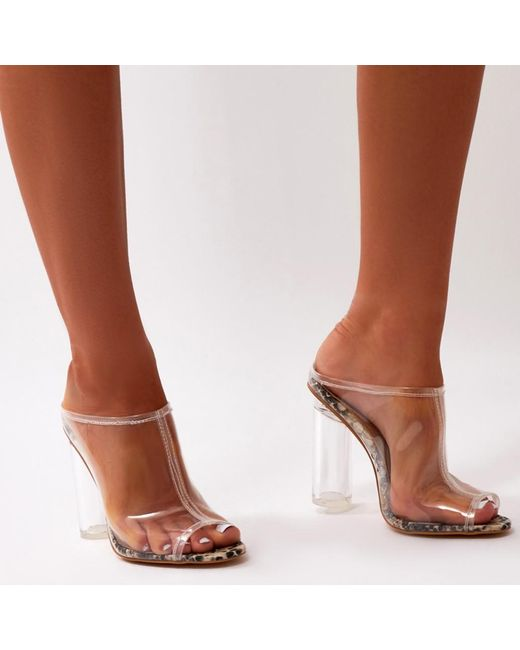 Public Desire Chi Clear Perspex Heel Mules in Clear Natural HnSuo
