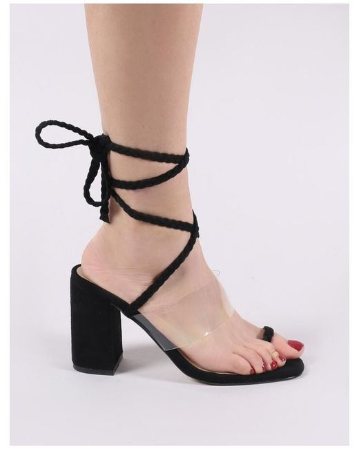 a33aeee51d4 ... Public Desire - Mia Lace Up Block Heeled Sandals In Black Faux Suede -  Lyst ...