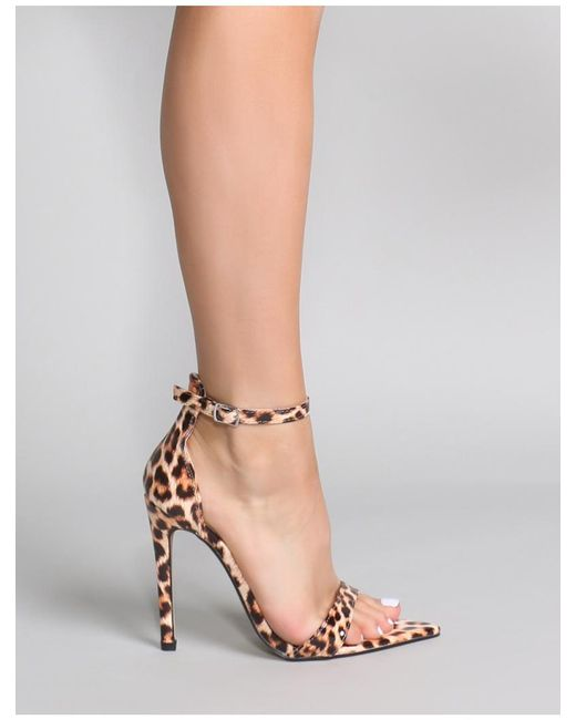 45d39146574 ... Public Desire - Multicolor Ace Pointed Barely There Heels In Leopard  Patent - Lyst