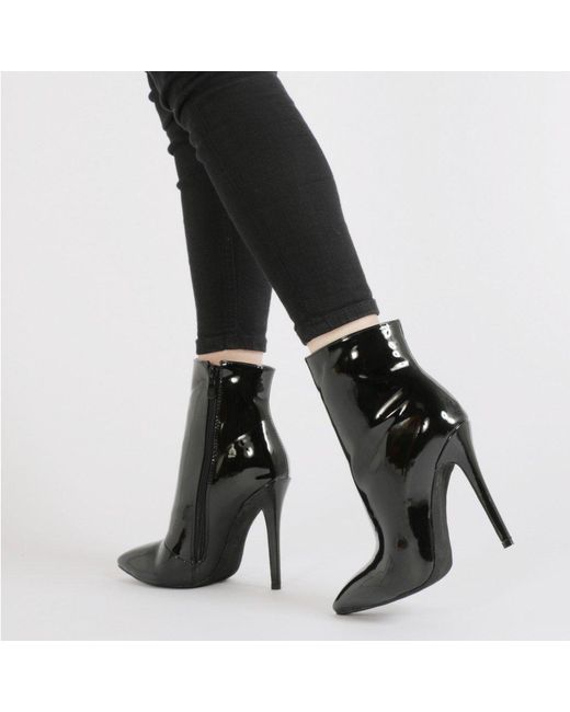 Public Desire | Harlee High Shine Pointed Toe Ankle Boots In Black Patent | Lyst