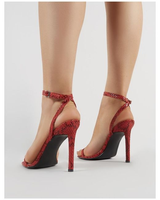 d34a6c647f ... Public Desire - Notion Squared Toe Barely There Heels In Red Snake  Print - Lyst ...