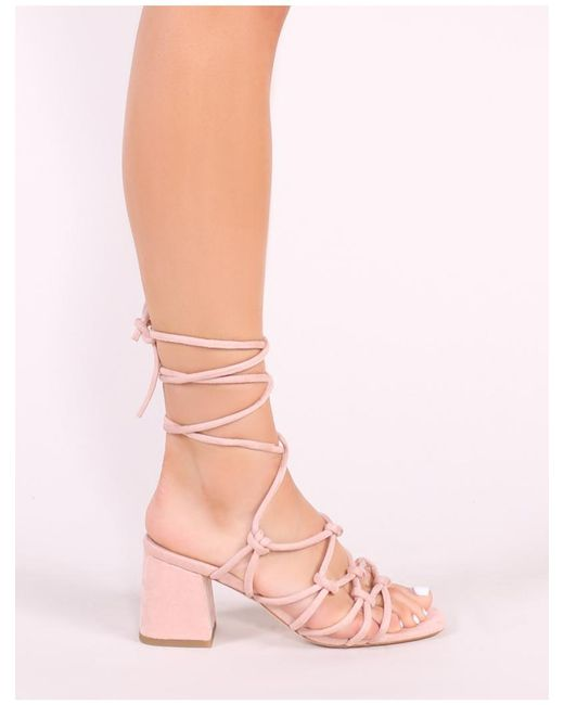 879bfcb9195 ... Public Desire - Blue Freya Knotted Strappy Block Heeled Sandals In  Blush Nude Faux Suede -