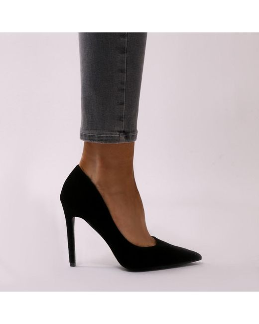 Public Desire Tipsy Cut Out Court Heels in Faux Suede