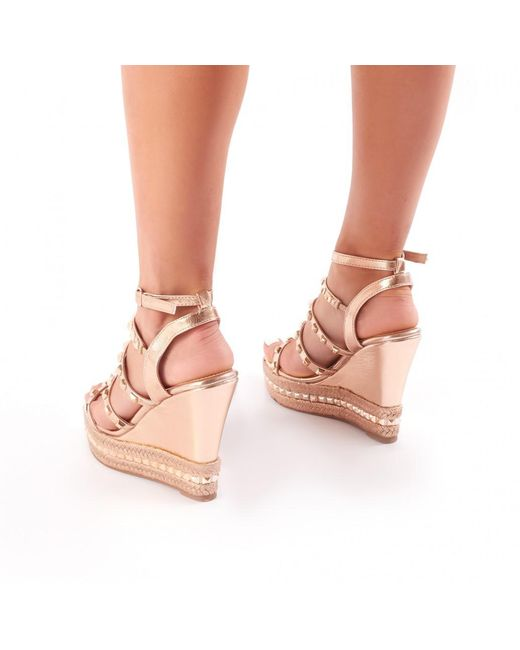 Public Desire Sally Gladiator Studded Wedges in Rose s3e1g