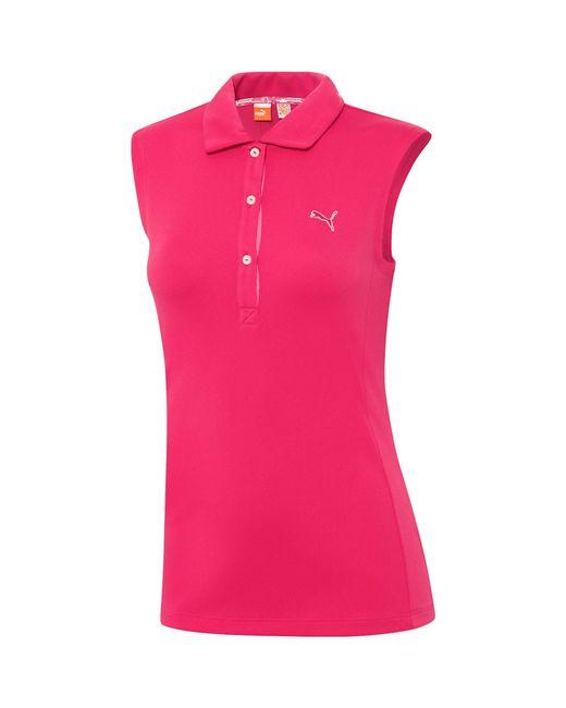puma tech sleeveless golf polo shirt in pink lyst