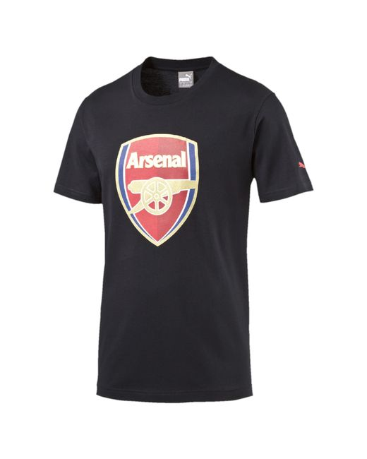 Puma arsenal crest fan slim t shirt in black for men lyst for Arsenal t shirts sale