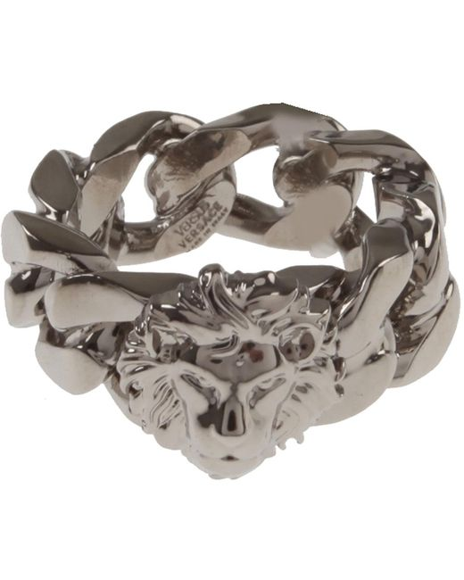 Versace - Metallic Ring For Men On Sale for Men - Lyst