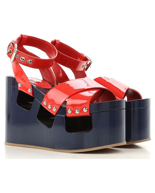 Miu Miu - Blue Wedges For Women On Sale In Outlet - Lyst
