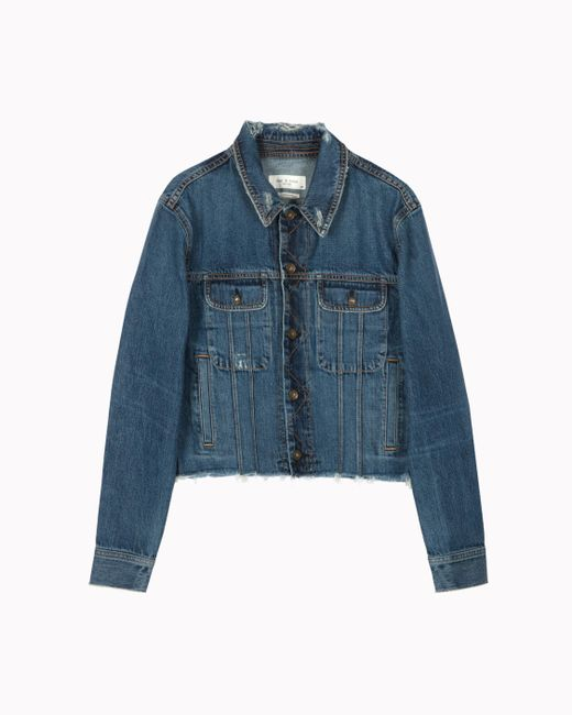 Rag & Bone - Blue Crop Boyfriend Jacket - Lyst