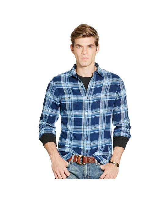 Polo Ralph Lauren | Blue Indigo Plaid Cotton Workshirt for Men | Lyst