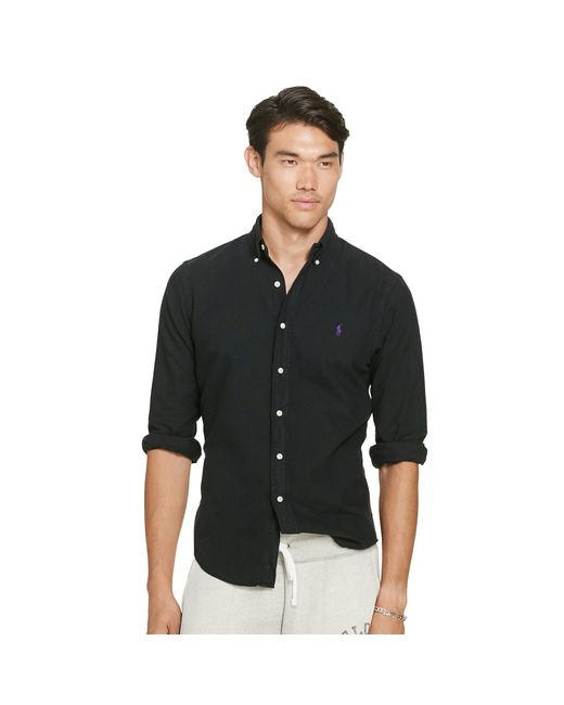 Polo Ralph Lauren | Black Slim Garment-dyed Oxford Shirt for Men | Lyst