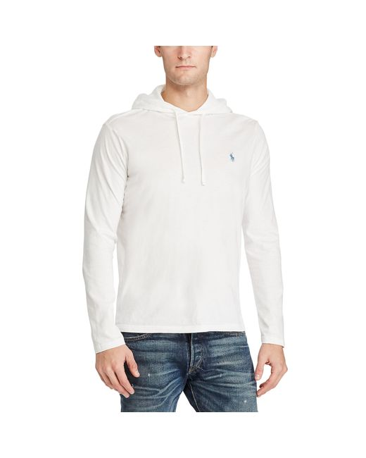 polo ralph lauren cotton jersey hooded t shirt in white