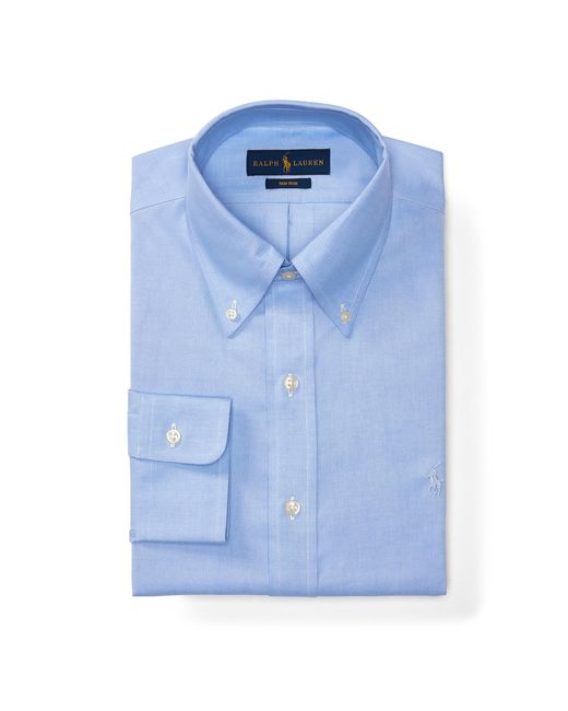 Polo ralph lauren no iron cotton dress shirt in blue for for Mens no iron dress shirts