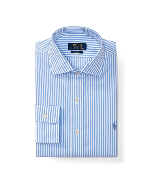 Polo ralph lauren no iron cotton dress shirt in blue for men lyst - How to unwrinkle your clothes with no iron ...