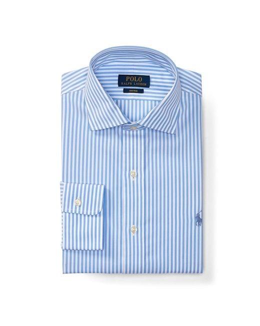 Polo ralph lauren no iron cotton dress shirt in blue for for Men s no iron dress shirts