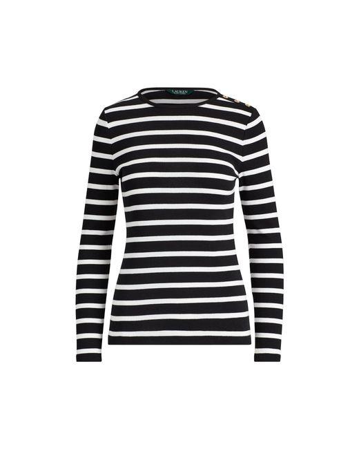 Lauren by Ralph Lauren - Black Striped Button-shoulder Top - Lyst