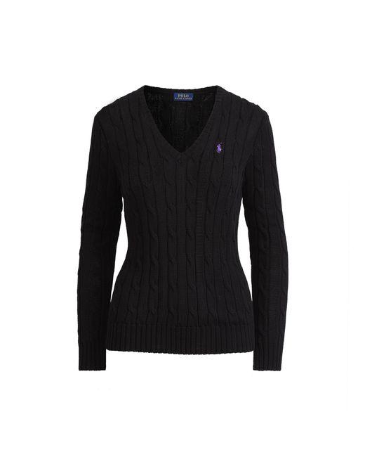 Polo Ralph Lauren - Black Cable Cotton V-neck Sweater - Lyst