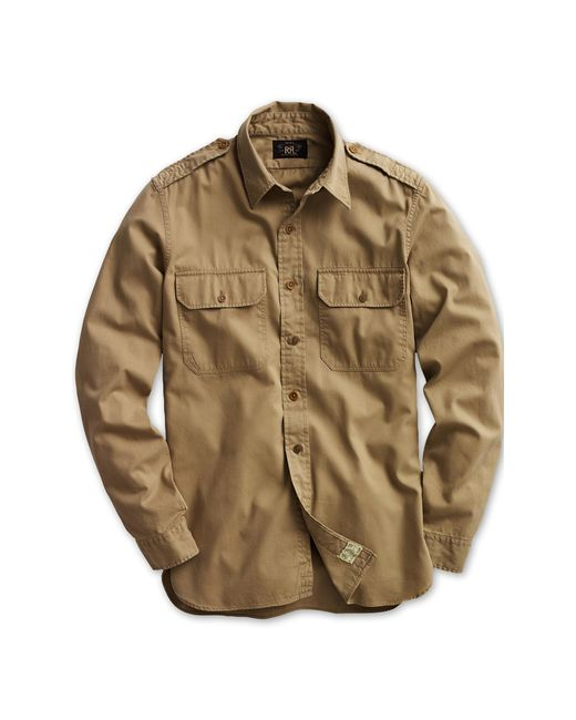 RRL | Natural Twill Military Shirt for Men | Lyst