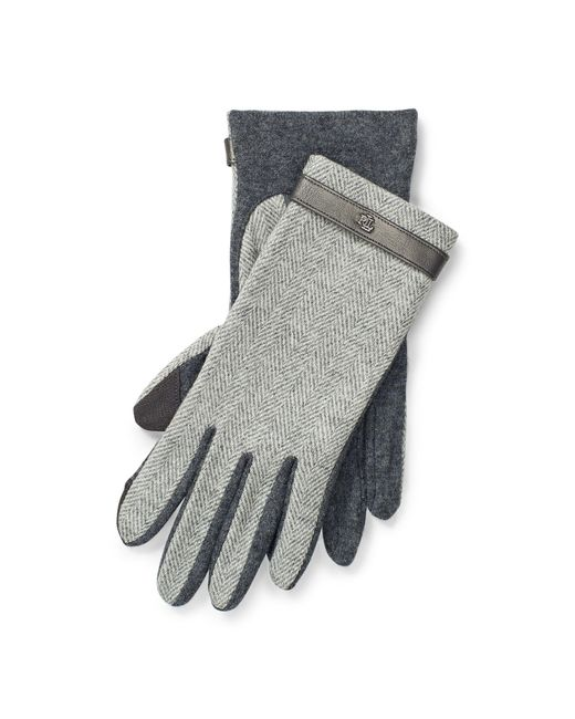 Ralph Lauren | Gray Herringbone Wool Tech Gloves | Lyst