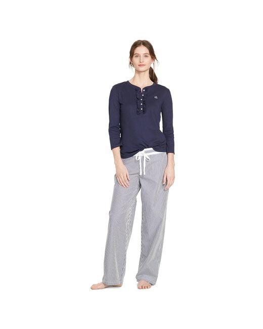 Pink Pony | Blue Cotton Poplin Pajama Pant | Lyst